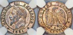 World Coins - France. Napoléon III (1852-1870). AE 1 Cent 1861A. NGC AU, details.