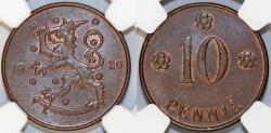 World Coins - Finland. Republic. CU 10 Pennia 1920 BN. NGC MS64