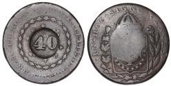 World Coins - Brazil. Pedro I. CU 40 Reis 1828. Fine