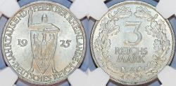 World Coins - Germany. Weimar Republic. Silver 5 Mark 1925-A Rhineland. NGC MS63!