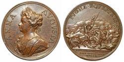 "World Coins - Great Britain. Queen Anna. Commemorative AE 48 mm Medal ""Battle of Almenara"" 1710 by J Croker. Choice XF"