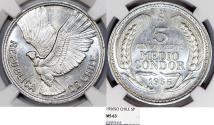 World Coins - Chile. Republic. Aluminiuml 5 Pesos 1956 So. NGC MS63, one year type.
