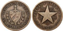 World Coins - Cuba. Republic. Silver 40 Centavos 1920. Toned VF