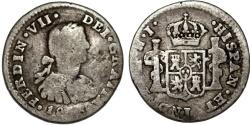 World Coins - Spainish Mexico . Ferdinand VII. AR 1 Real 1826 HJ. Fine