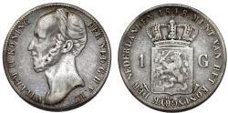 World Coins - Netherlands. king Wilhelm III (1849-1890). Silver 1 Gulden 1848. Fine+