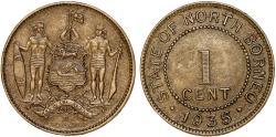 World Coins - British North Borneo. CU-NI 1 Cent 1935 H. Choice XF