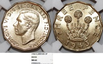World Coins - Great Britain. George VI. Brass 3 Pence 1942. NGC MS62