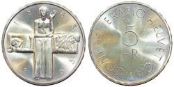 """World Coins - Switzerland. Republic. AR 5 Francs 1963 """"Red Cross Centennial"""" Choice, BU"""