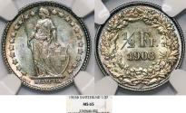 World Coins - Switzerland. Federation. AR 1/2 Franc 1903. NGC MS65!