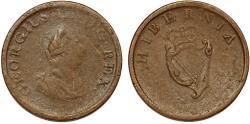 World Coins - Ireland. George III. Bronze ½ Penny 1805. VG+