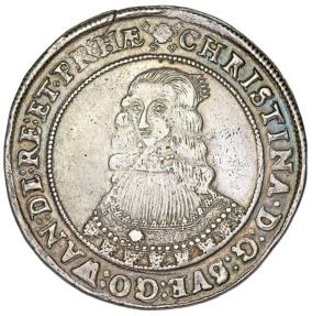 World Coins - Sweden. Queen Christina (1632-1654) AR Riksdaler 1643. Choice VF/XF, toned