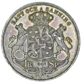 World Coins - Sweden. King Oskar I (1844-1859). AR 1 Riksdaler 1851. Nice Choice XF, toned, RARE