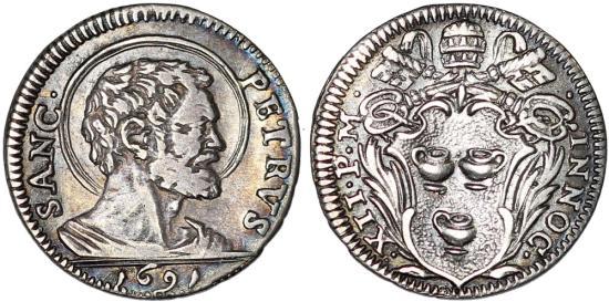 World coins italy papal states innocens xii 1691 1700 ar mezzo