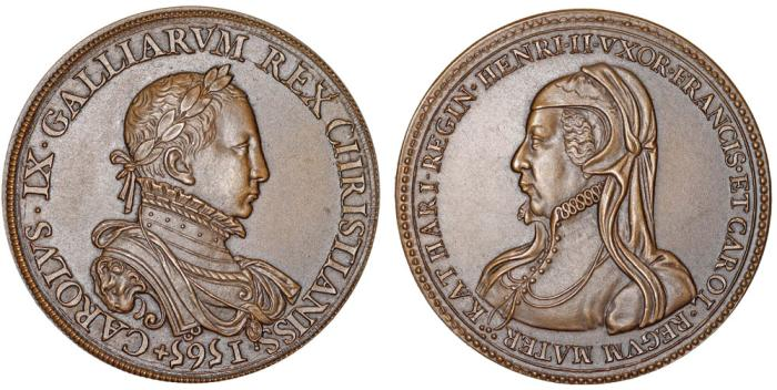 World Coins - FRANCE. Charles IX (1550-1560-1574) and Marie de Medici. Restrike of Medal 1565. UNC
