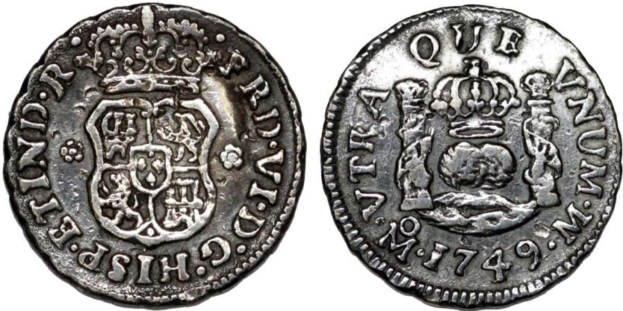 World Coins - MEXICO. Ferdinand VI (1746-59). Pillar Coinage. Silver 1/2 Real, 1749-Mo MF. Choice VF, toned