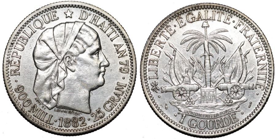 World Coins - Republic of Haiti (1863- ). Silver Gourde AN79 (1882). Choice AU.