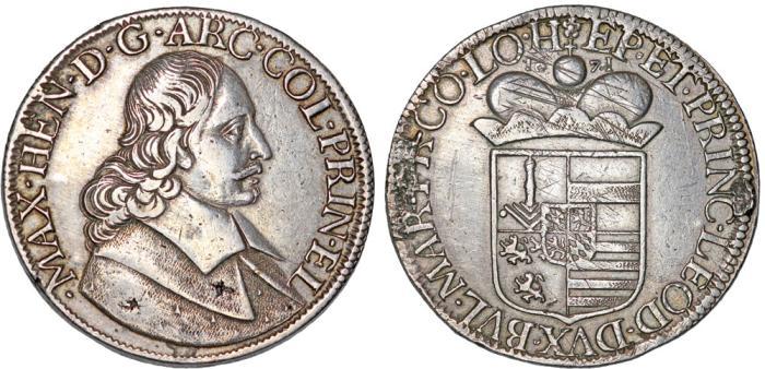 World Coins - Belgium. Liege. Maximilian Heinrich Herzog von Bayern (1650-1688). AR Patagon 1671. aVF