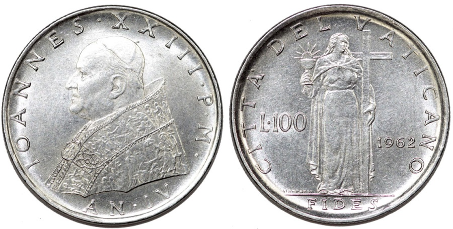 "World Coins - Vatican. Pope John XXII (1958-1963) Steel 100 Lira 1962 ""Fides"". UNC"