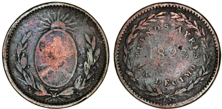 World Coins - Argentina. Province: Buenos Aires. AE 1 Decimo 1823. Fine