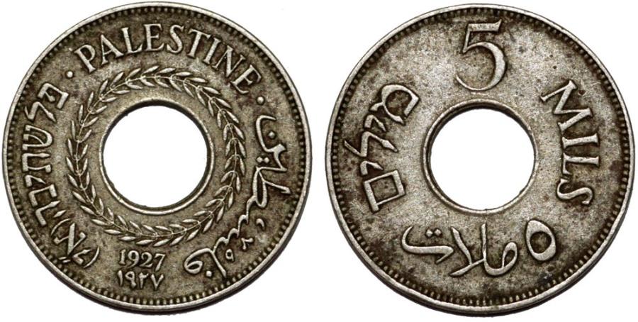 World Coins - British Administration. Palestine. CuNi 5 Mils 1927. XF