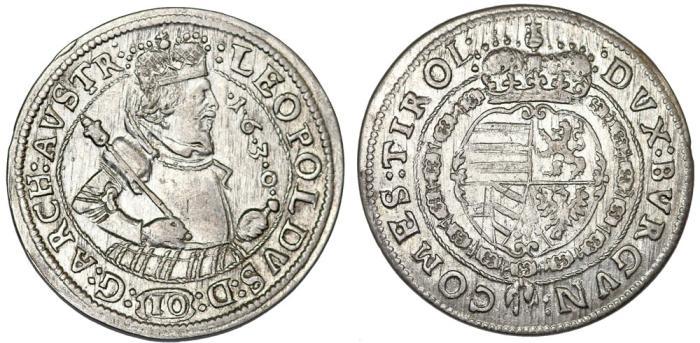 World Coins - H.R.E. Tirol Issue. Archduke Leopold (1618-1632). Silver 10 Kreuzer 1630. XF