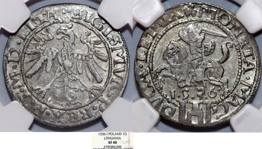 """World Coins - Poland. Lithuania. Sigismund I """"Old"""" (1506-1546). Silver RARE Gross 1536. NGC XF40!"""