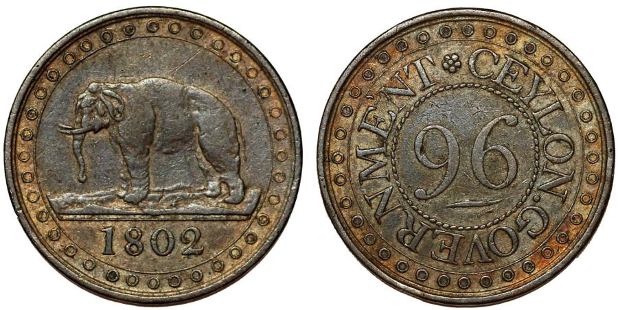 World Coins - CEYLON GOVERNMENT (Sri Lanka). AE 1/96 Rixdollar 1802. Nice Choice VF.