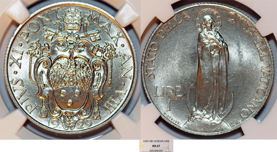 World Coins - Vatican City. Pope Pius XI (1922-1939). 1 Lira 1929 - VIRGIN MARY. NGC MS67!