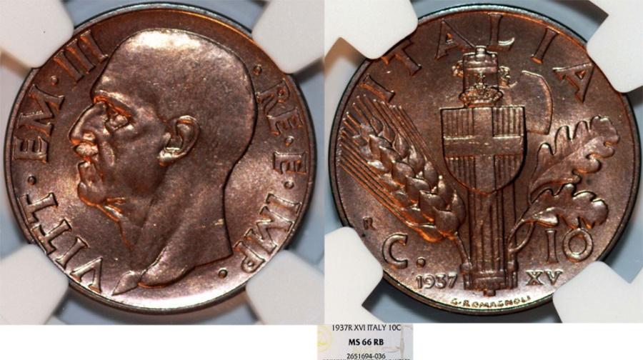 World Coins - Italy. Vittorio Emanuele III. BRZ 10 Centesimo 1937. NGC MS66 RD