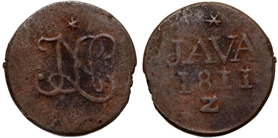 World Coins - Netherlands East Indies. Luis Napoleon rule. Java issue . Cu Duit 1811. Fine+