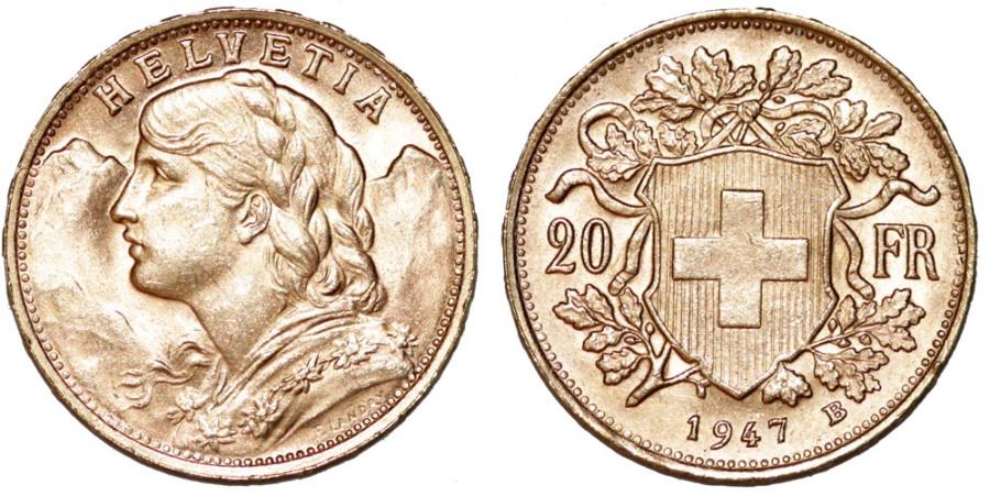 World Coins - Swiss. Gold 20 Francs Helvetia 1947. UNC