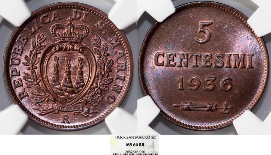 World Coins - Republic of San Marino. Beautiful 5 Centisimi 1936 R. NGC MS66 RB
