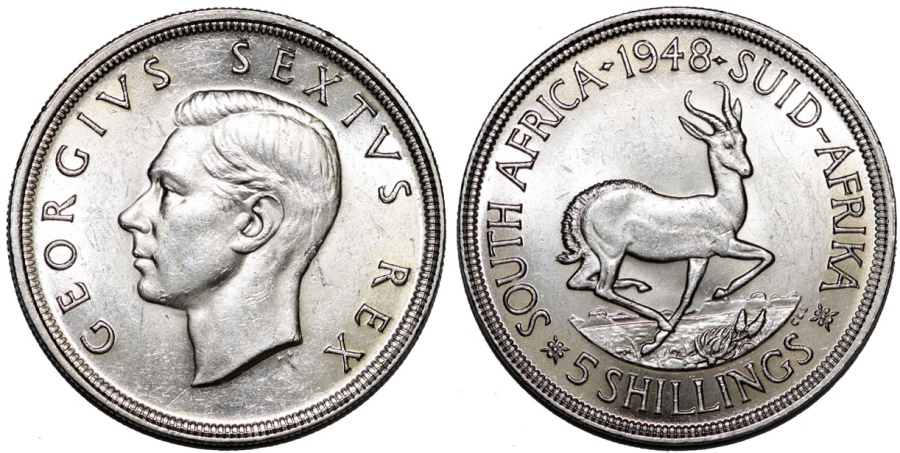 World Coins - South Africa as British Colony. George V. AR 5 Shillings 1948. UNC