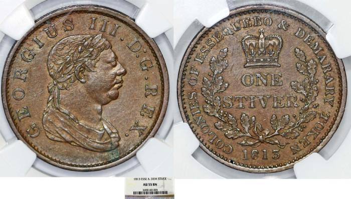 World Coins - British Essequibo & Demerary (modern Guyana). George III (1760-1820). AE 1/2 Stiver 1813. NGC AU55BN
