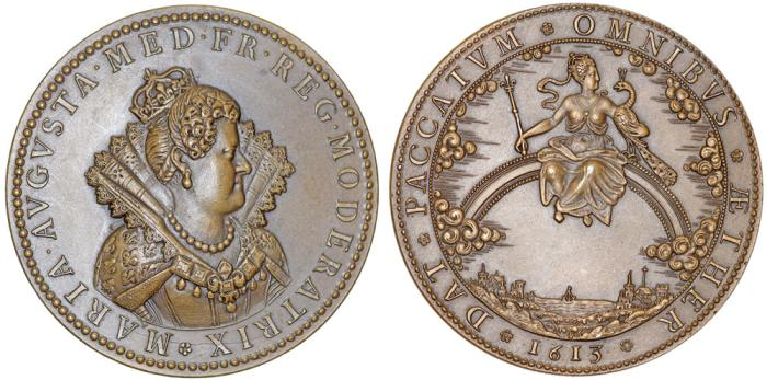 World Coins - FRANCE. Marie de Medici (1573-1642). Restrike of Bronze Medal, the Regency Established 1613. UNC