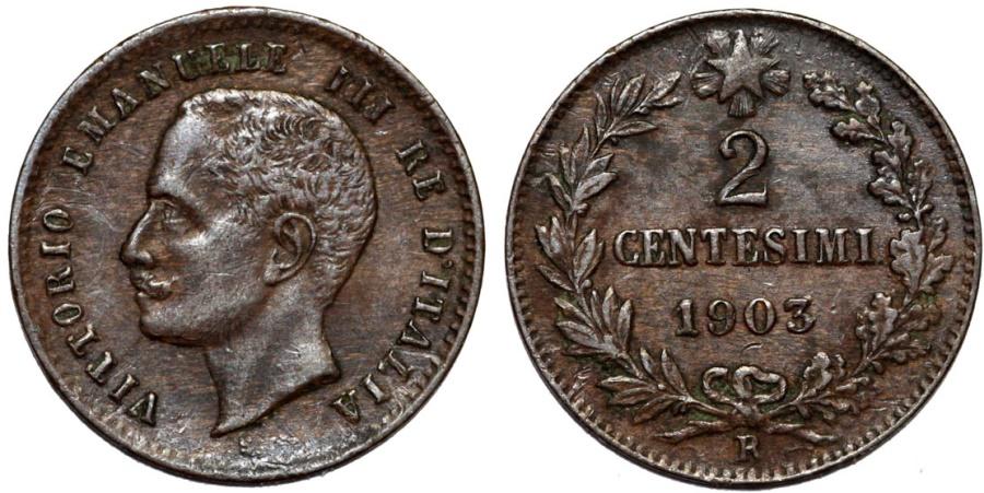 World Coins - Italy. Kingdom. Vittorio Emanuelle III. CU 2 Centesimi 1903. XF