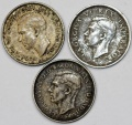 World Coins - British Colonial issues: Lot of 3 coins: 6 Pence 1942-1943. VF-XF