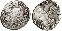World Coins - Italy. Naples under Spain. Filippo III The King of Spain and Naples (1598-1621). AR 1/2 Carilino 1620. About VF