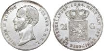 World Coins - Netherlands. Kingdom. William II (1840-1849). Silver 2 1/2 Gulden 1846. About  XF, scarce date