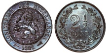 World Coins - Netherlands. William III.  Cu 2 1/2 Cent 1881. Choice AU