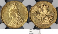 World Coins - Australia. Queen Victoria (1837-1901) Gold Sovereign 1892 M. NGC AU55