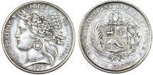 World Coins - Peru. Republic. AR 1 Peseta 1880 B. XF