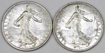 World Coins - France. Lot of 2 Silver Coins: 1 Franc 1918. XF+
