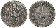 World Coins - Italian States. Pius IX. CU 1 Baiocco 1850R. AVF