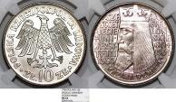 """World Coins - Poland. P.R.L. 1952-1989. Ni 10 Zloty 1964. """"Jagiellonian University"""" . NGC MS64"""