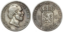 World Coins - Netherlands. king Wilhelm III (1849-1890). Silver 1 Gulden 1861. About VF