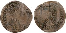 World Coins - Spanish Netherlands. Brabant.  Tournai. Phillip II of Spain (1556-1598)-Restored. Cu Liard 1591. Fine+, cuts, rare!