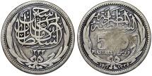 World Coins - Egypt. AR 5 Piastres 1917. VF/Fine