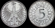 World Coins - Germany. Western Republic. Silver Trade 5 Mark 1957 J. Choice  XF,