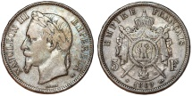 World Coins - France. Napoleon III (1852-1870). Silver 5 Francs 1869 BB. Choice VF, toned